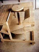 Torno de alfarero de madera