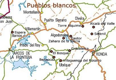 Mapa Pueblos Blancos Cadiz.Rutas Turisticas Ruta De Los Pueblos Blancos De Cadiz