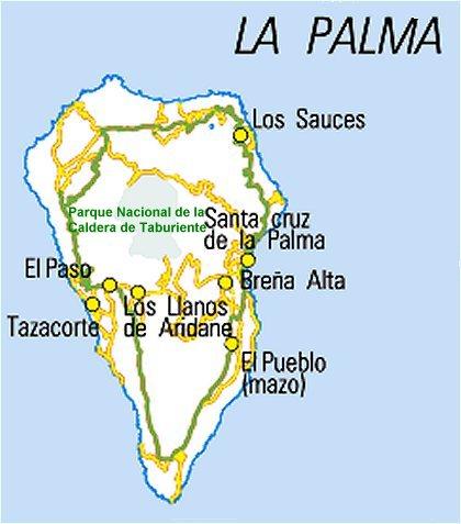 Mapa Municipios La Palma.Rutas Turisticas De Canarias